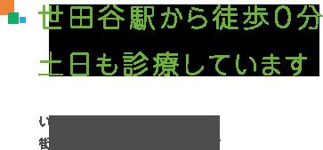 世田谷駅から徒歩0分。土日も診療しています。